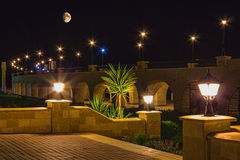Quay  resort of Hurghada at night Stock Photography