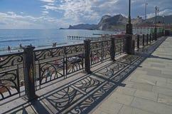 Quay in the resort town. Crimea. Stock Photo