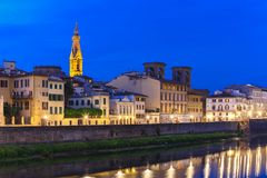 Quay of the river Arno in Florence, Italy stock photos