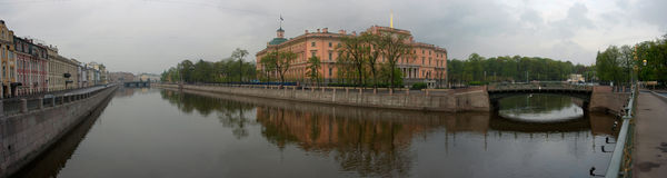 Quay of the river fontanka and Michael's castle in Royalty Free Stock Images