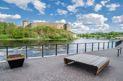 Quay of the River Narva with Ivangorod fortress Stock Images