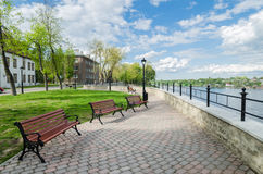 Quay of the River Narva spring sunny day Stock Image
