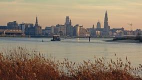 Quay of river Scheldt in Antwerp in warm sunset light stock image