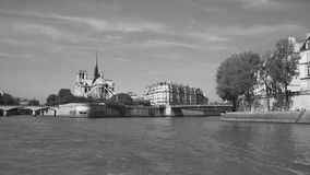 Quay of river Seine in Paris with buildings, Paris, France. B/W Stock Photography