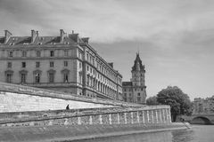 Quay of river Seine in Paris with buildings in Paris, France. B/W Stock Images