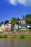 Quay of the the river in summer Heidelberg. River Neckar and quay of european city in summer Heidelberg Stock Photography