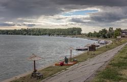 Quay on the river Tisa Royalty Free Stock Images