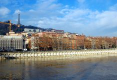Quay of Saone river in Lyon, France Stock Photo