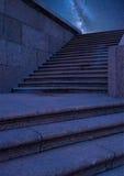 Quay schodki przy nocą Obrazy Stock