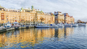 Quay with ships in Stockholm Stock Photo