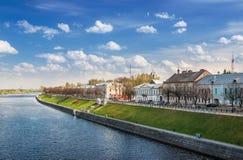 Quay Stepan Razin en el río Volga en Tver imágenes de archivo libres de regalías