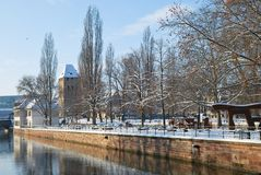 Quay of Strasbourg during winter Royalty Free Stock Image