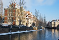Quay of Strasbourg during winter Royalty Free Stock Images