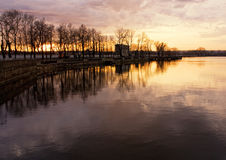 Quay during the sunset. Lake's quay during the sunset, autumn, middle of Russia Royalty Free Stock Photos