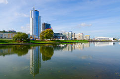 Quay of Svisloch River, Minsk, Belarus Royalty Free Stock Images