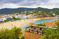 Quay of Tossa De Mar at stormy weather Stock Images
