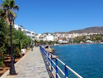 Quay ulica w mieście Agios Nikolaos Obrazy Royalty Free