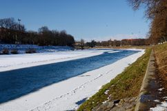 Quay of Uzh river in Uzhgorod during winter time,Western Ukraine royalty free stock photos