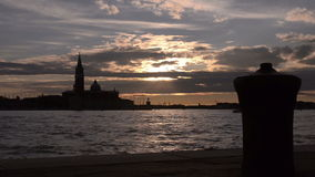 Quay in Venice. Sunset in the bay of San Marco. stock video footage