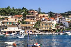 Quay of the village of Kassiopi is a tourist village in the north of the island of Corfu royalty free stock photography