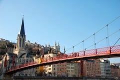 Quay von Saone-Fluss in Lyon, Frankreich Lizenzfreie Stockfotografie
