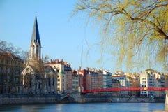 Quay von Saone-Fluss in Lyon, Frankreich Stockfoto