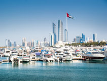 Quay with yachts and skyscrapers Royalty Free Stock Photography