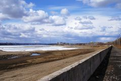 Quay yard Amur. The river Аmur in the spring. Quay of the river of Amur in Russia Stock Image