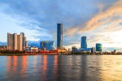 Quay Yekaterinburg, wieczór, Rosja Zdjęcie Royalty Free