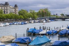 Quay of Zurich. Pier in Zurich. Boats on Lake royalty free stock photo