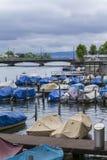 Quay of Zurich. Pier in Zurich. Boats on Lake stock photos