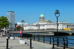 The Quays Dublin. View of the Liffey river, Matt Talbot bridge, Customs House and Liberty Hall Dulbin Stock Photography
