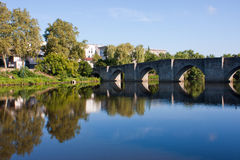 Quays in Limoges. Reflection on the river in Limoges, France Royalty Free Stock Image