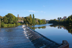 Quays in Limoges. Waterfall on the river in Limoges, France Stock Image
