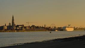 Quays of river Scheldt in Antwerp in warm sunset light royalty free stock photos
