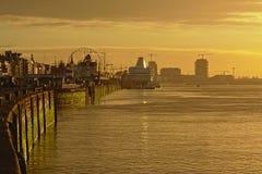 Quays of river Scheldt in Antwerp in hazy sunset light stock photos