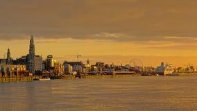 Quays of river Scheldt in Antwerp in warm sunset light royalty free stock photo
