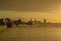 Quays of river Scheldt in Antwerp in warm sunset light stock images
