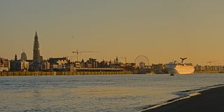 Quays of river Scheldt in Antwerp in warm sunset light royalty free stock image
