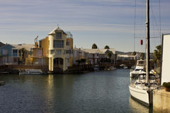 Quayside accommodation and boats Royalty Free Stock Images