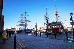Quayside at the Albert Dock in Liverpool England Royalty Free Stock Images