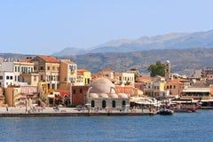 Quayside in Chania. Crete, Greece. Old Venetian harbor in Chania. Crete, Greece Stock Image