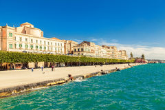 Quayside of an old town of Siracusa. The quayside of an old town of Siracusa located on the island Ortigia Royalty Free Stock Image