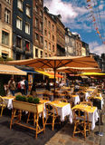 Harbour eating place, Honfleur, France Stock Photo