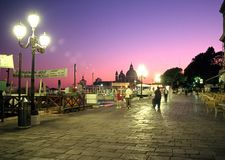 Quayside at sunset, Venice. Royalty Free Stock Photo