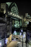Quayside and Tyne Bridge, Newcastle. Photograph of the Quayside at Newcastle upon Tyne, England, with the famous Tyne Bridge placed prominently in the photo Royalty Free Stock Photo