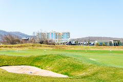 Quba - MARCH 26, 2015: Golf Course at Quba Rixos. Hotel on March 26 in Azerbaijan, Quba. Rixos hotel offers the only golf range in Azerbaijan Stock Photos