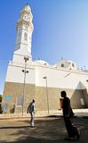Quba Mosque. Saudi Arabia, Medina, March 19, 2011,: Quba mosque under one corner of the mosque tower Stock Photo