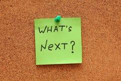 Que é seguinte? Post-it Foto de Stock