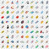 100 que ícones do negócio se ajustou, estilo 3d isométrico ilustração royalty free